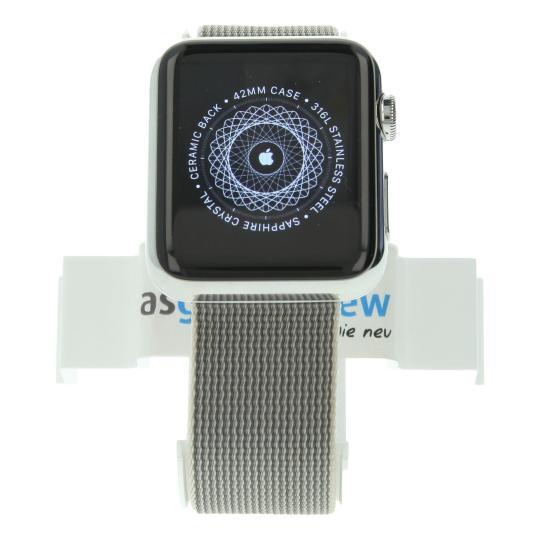 Apple Watch (Gen. 1) 42mm Edelstahlgehäuse Silber mit Nylonarmband Perlgrau Perlgrau gut