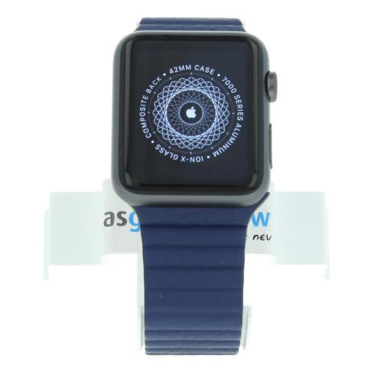 Apple Watch Sport (Gen. 1) 42mm boitier en aluminiumgris sidéral avec bracelet en cuir avec boucle bleu aluminium gris sidéral Bon