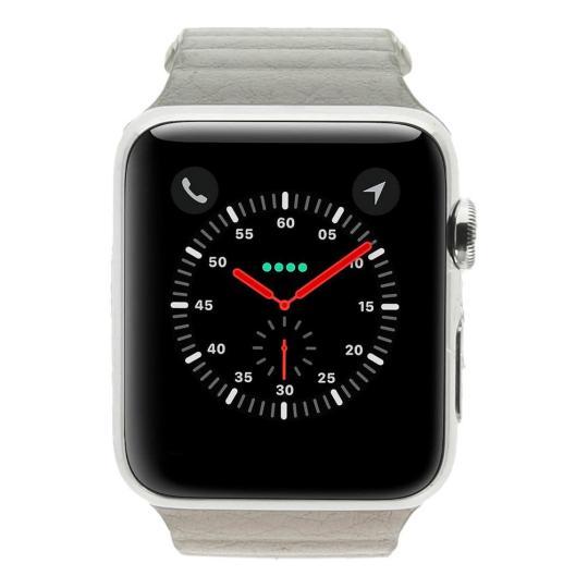 Apple Watch (Gen. 1) 42mm Edelstahlgehäuse Silber mit Lederarmband mit Schlaufe Dunkelgrau Edelstahl Silber gut