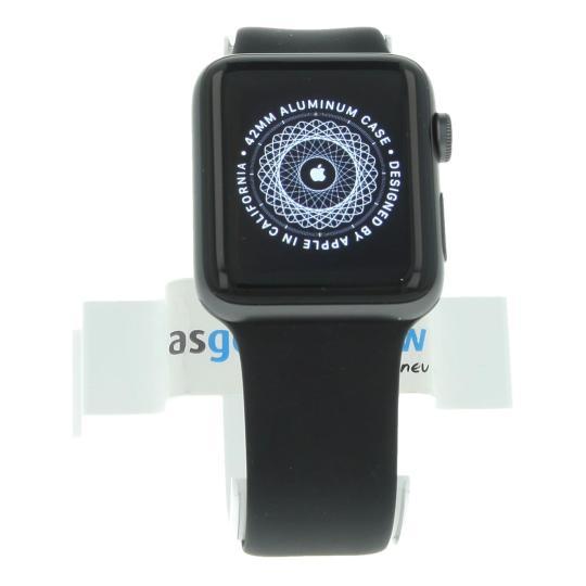 Apple Watch Series 2 Aluminiumgehäuse dunkelgrau 42mm mit Sportarmband schwarz aluminium dunkelgrau sehr gut