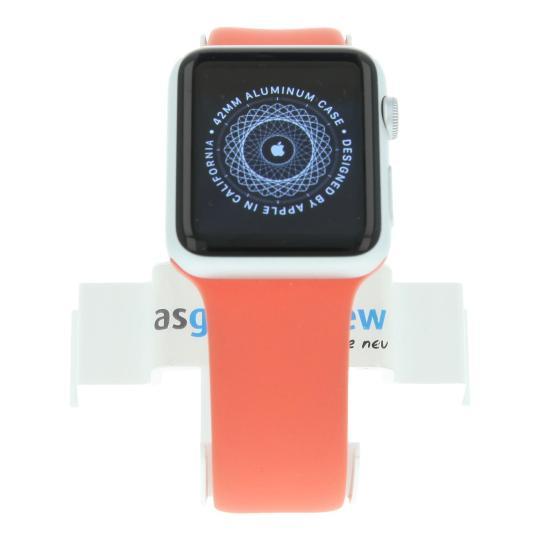 Apple Watch Sport (Gen. 1) 42mm Aluminiumgehäuse Silber mit Sportarmband Pink Aluminium Silber gut