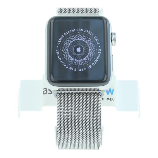 Apple Watch Series 2 Edelstahlgehäuse 42mm mit Milanaise-Armband silber Edelstahl Silber gut