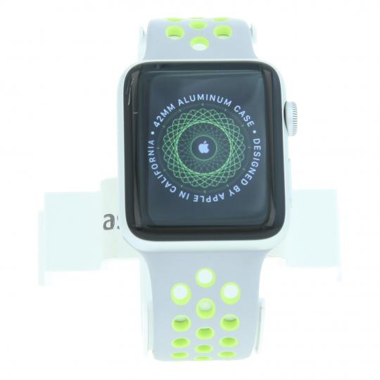 Apple Watch (Series 2) 42mm Aluminiumgehäuse Silber mit Nike+ Sportarmband Silber/Volt Aluminium Silber sehr gut