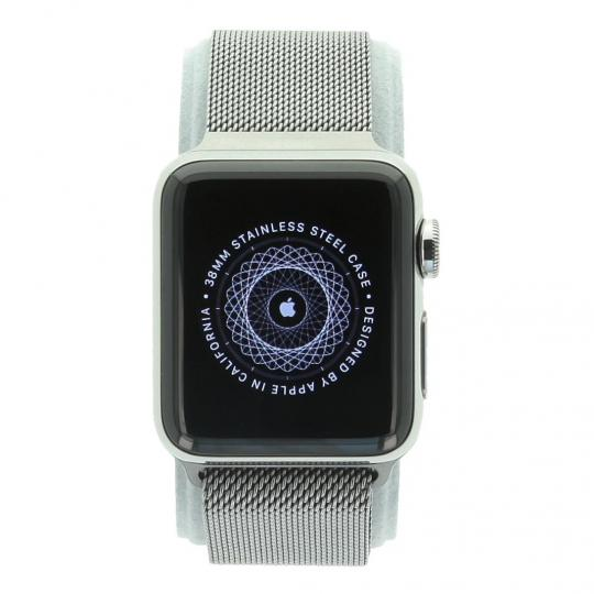 Apple Watch Series 2 Edelstahlgehäuse 38mm silber mit Milanaise-Armband silber Edelstahl Silber gut
