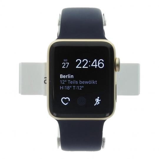 Apple Watch Series 2 Aluminiumgehäuse gold 42mm mit Sportarmband mitternachtsblau Aluminium Gold neu