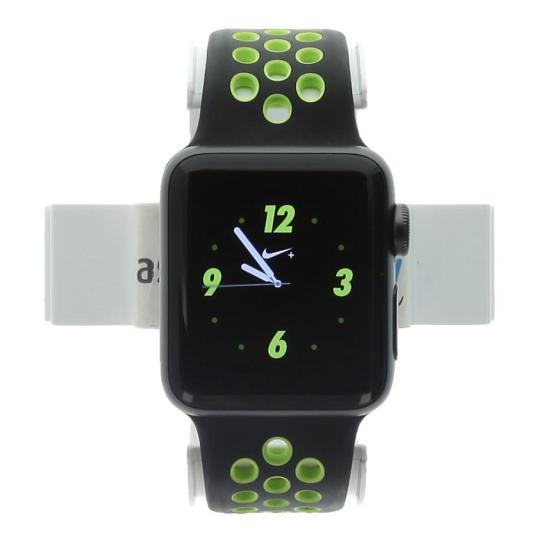 Apple Watch Series 2 Aluminiumgehäuse dunkelgrau 38mm mit Nike+ Sportarmband schwarz/volt aluminium dunkelgrau gut