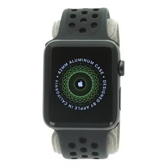 Apple Watch Series 2 Aluminiumgehäuse dunkelgrau 42mm mit Nike+ Sportarmband schwarz aluminium dunkelgrau sehr gut