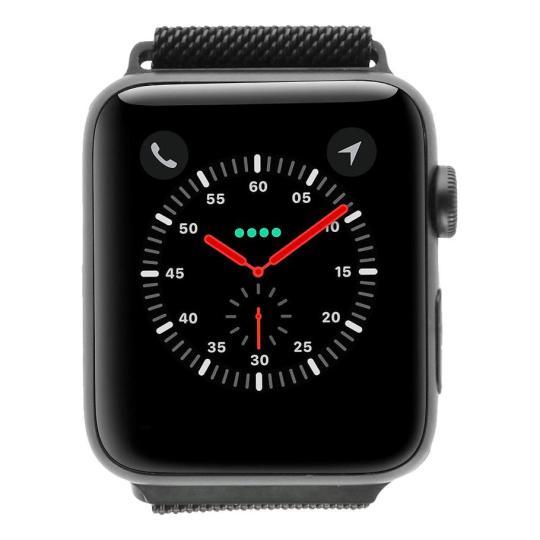 Apple Watch Series 2 Aluminiumgehäuse dunkelgrau 42mm mit Milanaise-Armband schwarz aluminium dunkelgrau gut