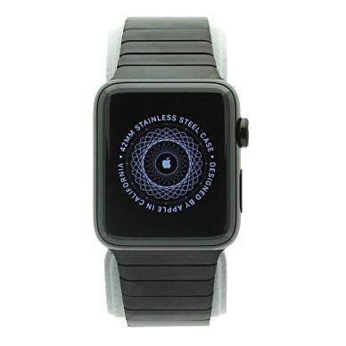 Apple Watch Series 2 Coque en acier inoxidable 42mm noir avec un bracelet a maillons noir Acier inoxydable Noir sidéral Bon