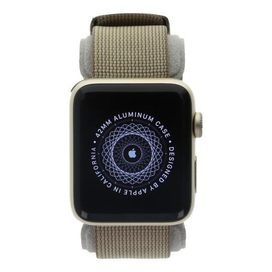 Apple Watch Series 2 Aluminiumgehäuse gold 42mm mit Nylon-Armband kaffeebraun/karamelbraun aluminium gold gut