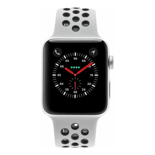 Apple Watch Series 3 Aluminiumgehäuse silber 42mm mit Nike Sportarmband pure platinum / schwarz (GPS) aluminium silber sehr gut