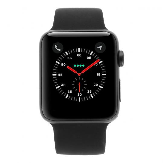 Apple Watch Series 3 Aluminiumgehäuse grau 42mm mit Sportarmband schwarz (GPS + Cellular) aluminium grau wie neu