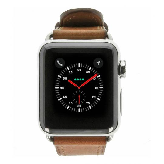 Apple Watch Series 2 Edelstahlgehäuse silber 38mm mit klassischem Lederarmband sattelbraun edelstahl silber gut