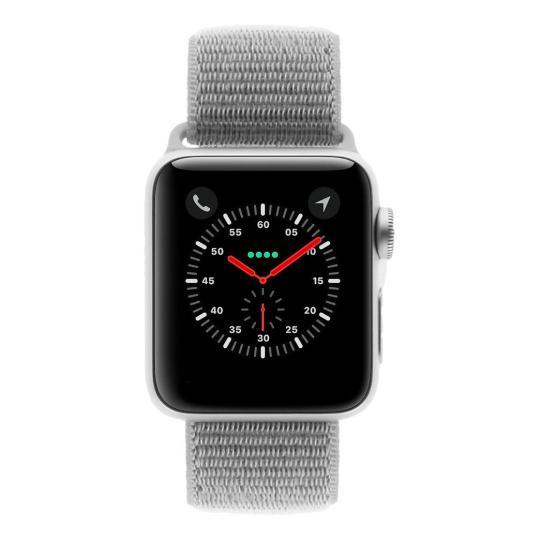 Apple Watch Series 3 Aluminiumgehäuse silber 38mm mit Sport Loop muschelweiß (GPS + Cellular) aluminium silber sehr gut
