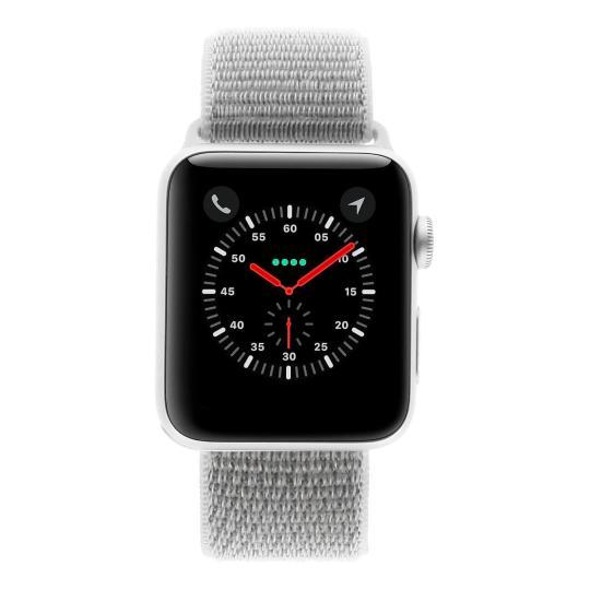 Apple Watch Series 3 Aluminiumgehäuse silber 42mm mit Sport Loop muschelweiss (GPS + Cellular) aluminium silber wie neu