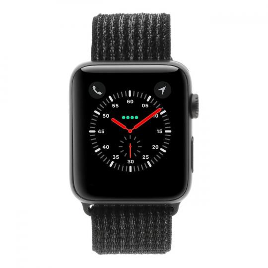 Apple Watch Series 3 Aluminiumgehäuse grau 42mm mit Sport Loop schwarz (GPS + Cellular) aluminium grau sehr gut
