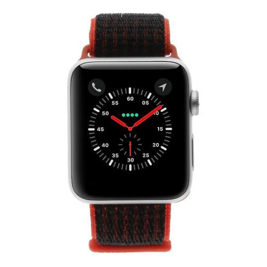 Apple Watch Series 3 Aluminiumgehäuse silber 42mm mit Nike+ Sport Loop rot/schwarz (GPS + Cellular) aluminium silber sehr gut