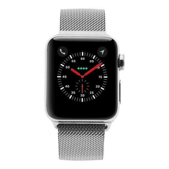 Apple Watch Series 3 Edelstahlgehäuse silber 38 mm mit Milanaise-Armband silber (GPS + Cellular) edelstahl silber gut