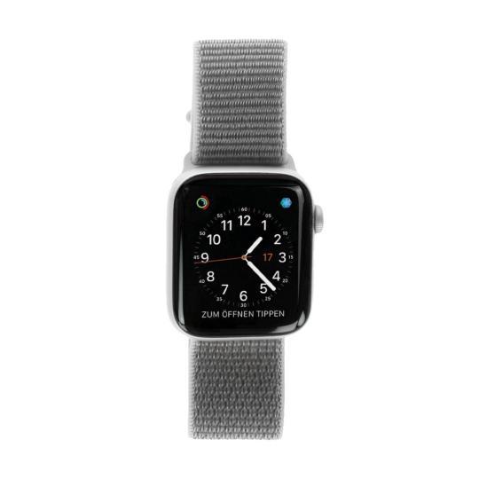 Apple Watch Series 4 Aluminiumgehäuse silber 44mm mit Sport Loop muschelgrau (GPS) aluminium silber sehr gut