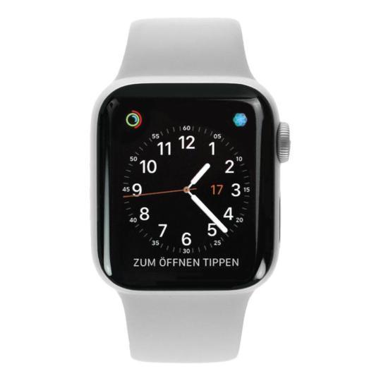 Apple Watch Series 4 Aluminiumgehäuse silber 40mm mit Sportarmband weiß (GPS+Cellular) aluminium silber gut