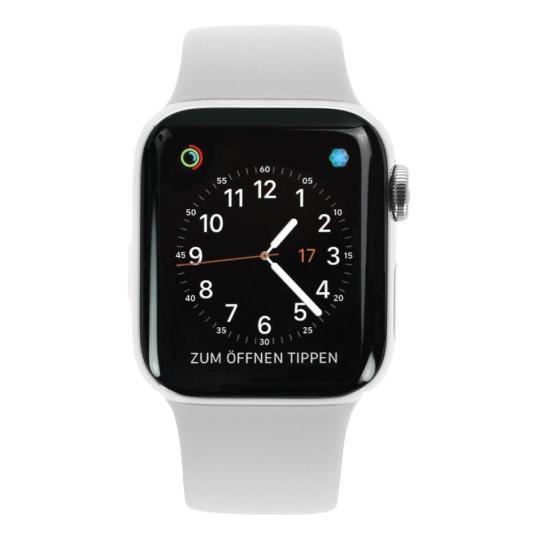 Apple Watch Series 4 Edelstahlgehäuse silber 40mm mit Sportarmband weiss (GPS+Cellular) edelstahl silber gut