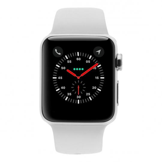 Apple Watch Series 3 Edelstahlgehäuse 38mm silber mit Sportarmband weiss (GPS + Cellular) edelstahl silber sehr gut