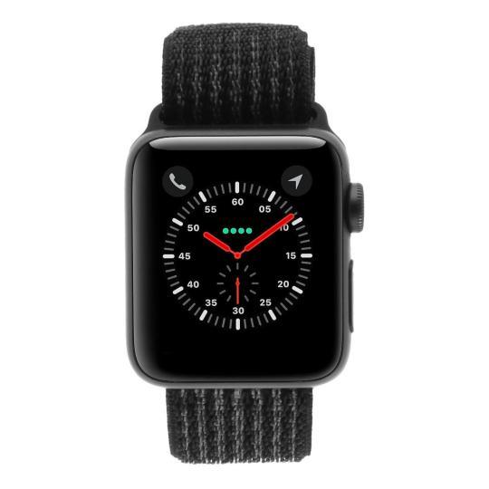 Apple Watch Series 3 Aluminiumgehäuse grau 38mm mit Nike+ Sport Loop schwarz/platinum-grau (GPS + Cellular) aluminium grau neu