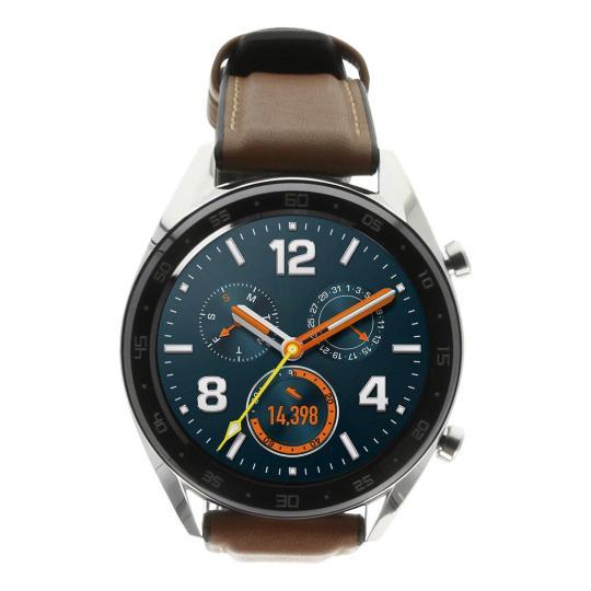 Huawei Watch GT silber mit Lederarmband braun silber wie neu