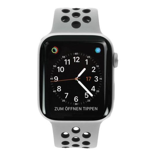 Apple Watch Series 4 Nike+ Aluminiumgehäuse silber 44mm mit Sportarmband platinum/schwarz (GPS) aluminium silber wie neu