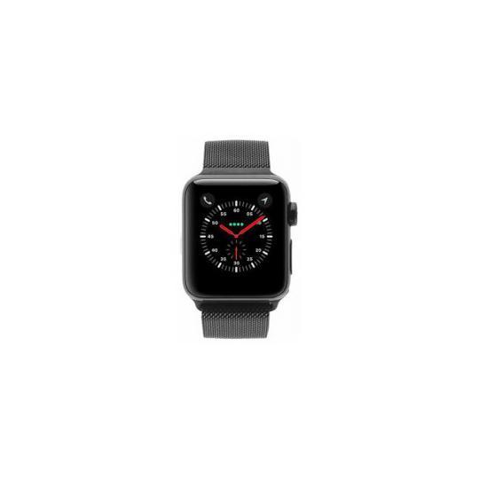 Apple Watch Series 3 Edelstahlgehäuse schwarz 38mm mit Milanaise-Armband schwarz (GPS + Cellular) Edelstahl schwarz gut