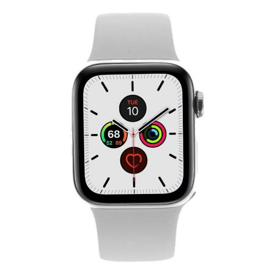Apple Watch Series 5 Edelstahlgehäuse silber 40mm mit Sportarmband weiß (GPS + Cellular) silber neu
