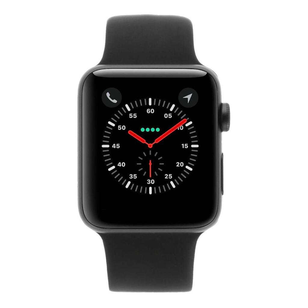 Apple Watch Series 3 Aluminiumgehäuse spacegrau 42mm mit Sportarmband schwarz (GPS) aluminium spacegrau wie neu