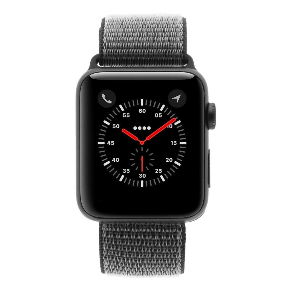 Apple Watch Series 3 Aluminiumgehäuse grau 42mm mit Sport Loop olivgrün (GPS + Cellular) aluminium grau sehr gut