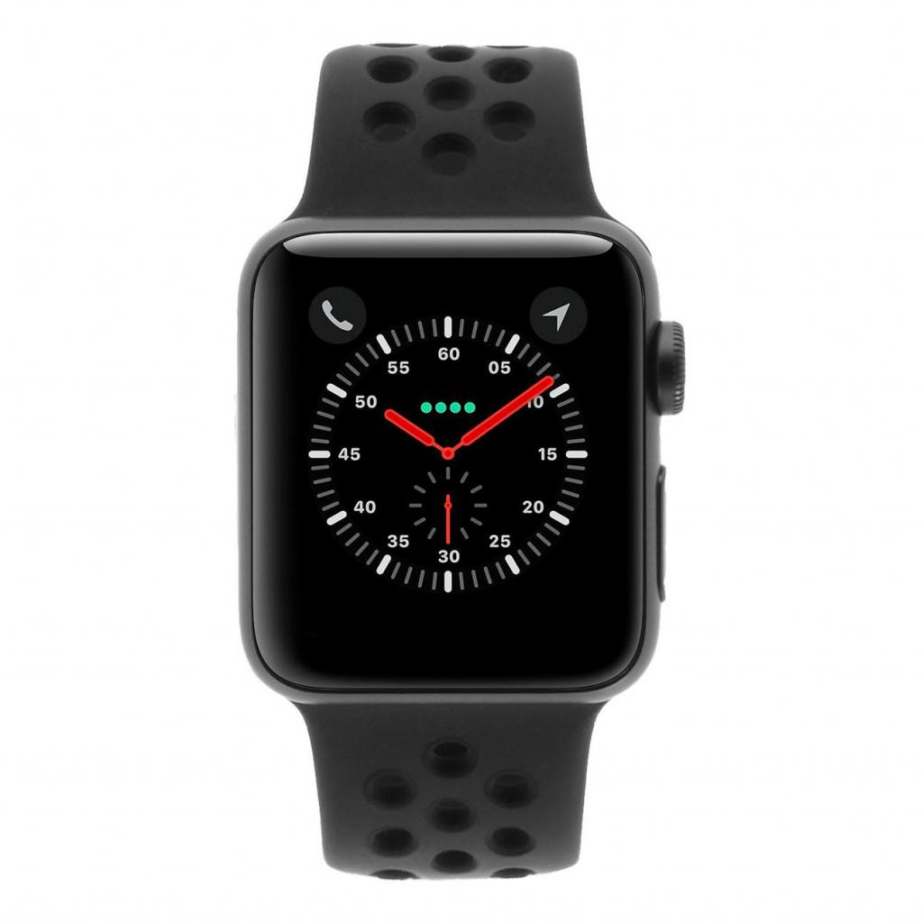 Apple Watch Series 3 Aluminiumgehäuse grau 38mm mit Nike Sportarmband anthrazit/schwarz (GPS + Cellular) aluminium spacegrau sehr gut