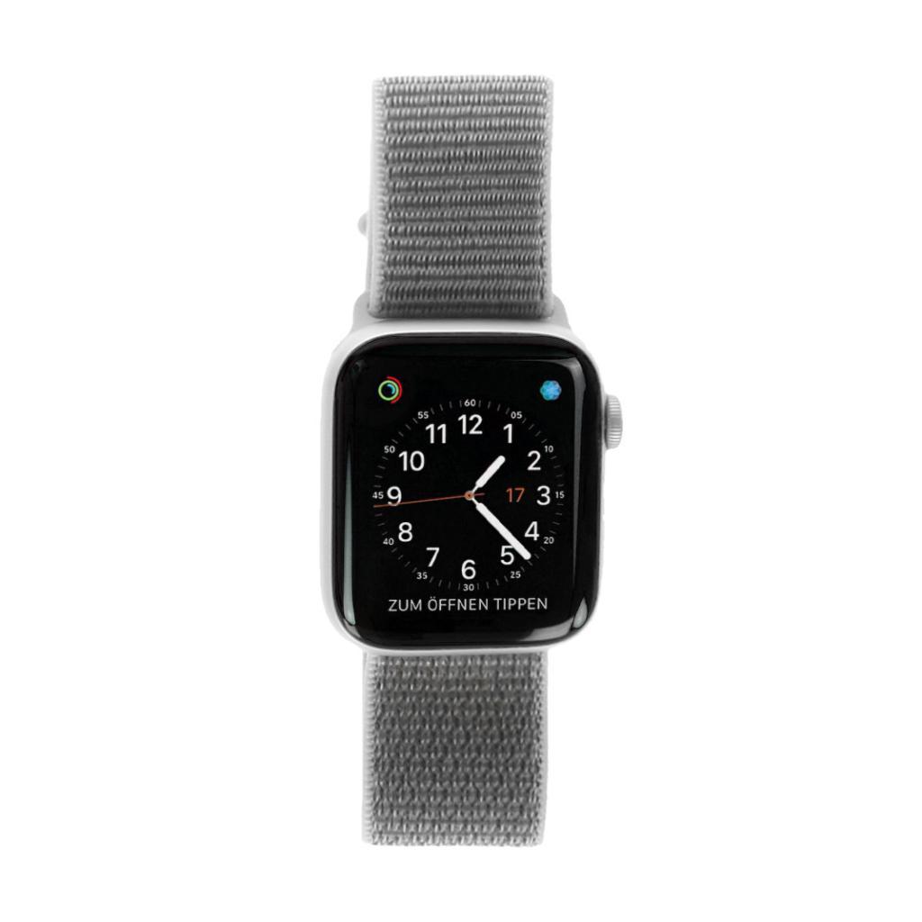 Apple Watch Series 4 Aluminiumgehäuse silber 44mm mit Sport Loop muschelgrau (GPS) aluminium silber gut