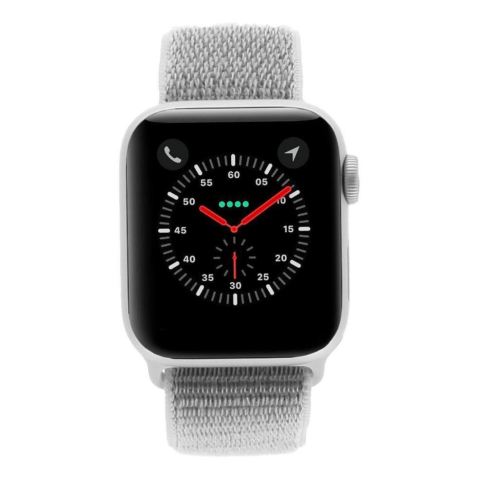 Apple Watch Series 4 Aluminiumgehäuse silber 40mm mit Sport Loop muschelgrau (GPS) aluminium silber wie neu
