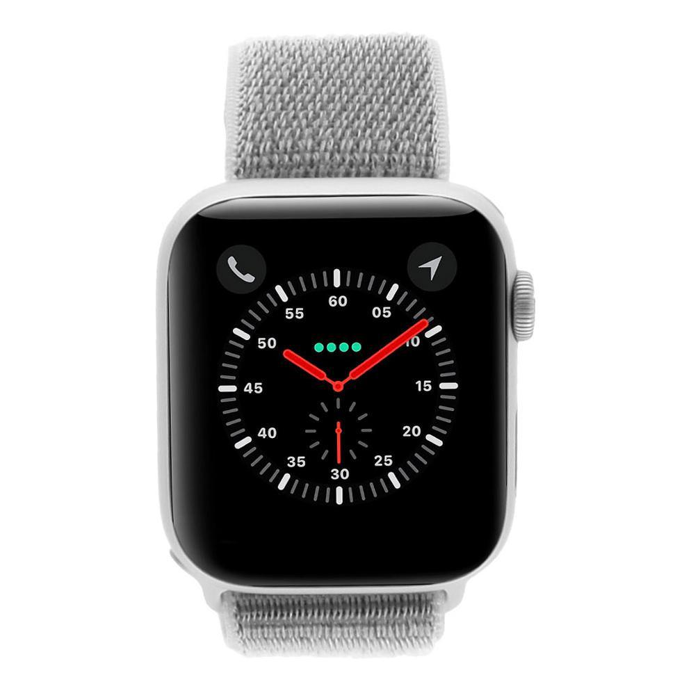 Apple Watch Series 4 Aluminiumgehäuse silber 44mm mit Sport Loop muschelgrau (GPS + Cellular) aluminium silber gut