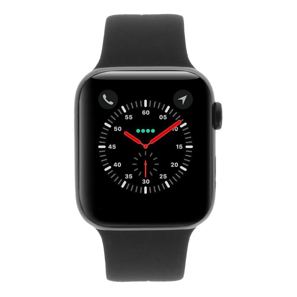 Apple Watch Series 4 Edelstahlgehäuse schwarz 44mm mit Sportarmband schwarz (GPS + Cellular) edelstahl spaceschwarz wie neu