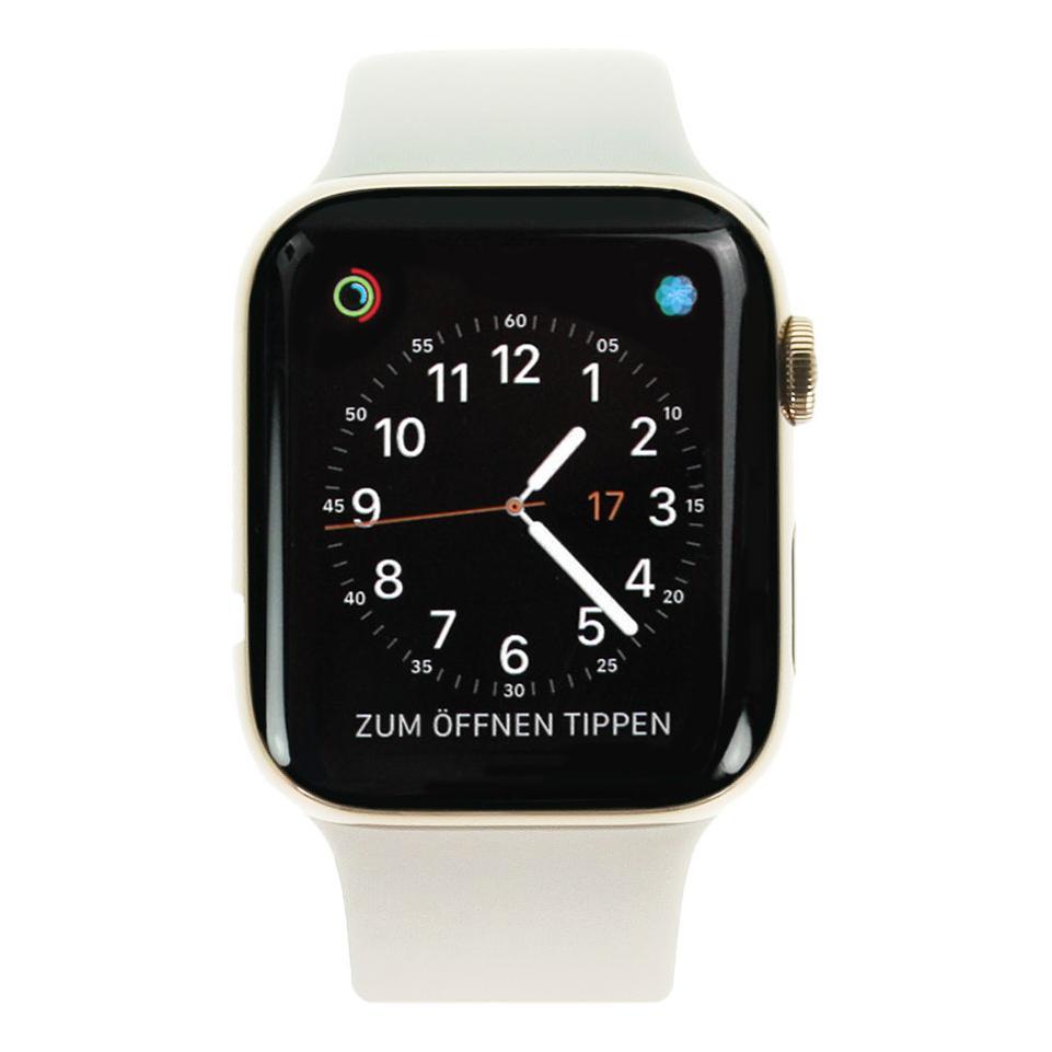 Apple Watch Series 4 Edelstahlgehäuse gold 44mm mit Sportarmband steingrau (GPS + Cellular) edelstahl gold gut
