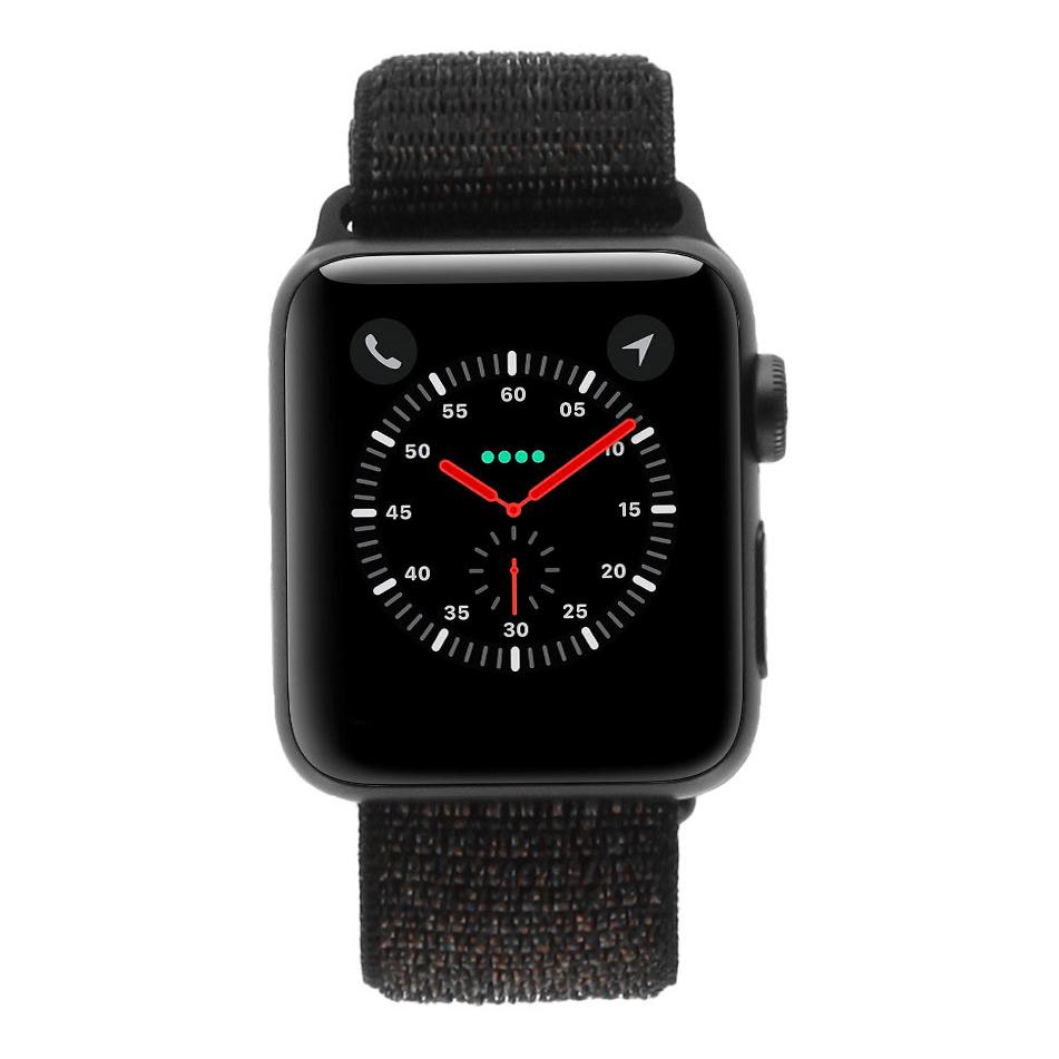 Apple Watch Series 3 Aluminiumgehäuse grau 38mm Sport Loop schwarz GPS+Cellular gut