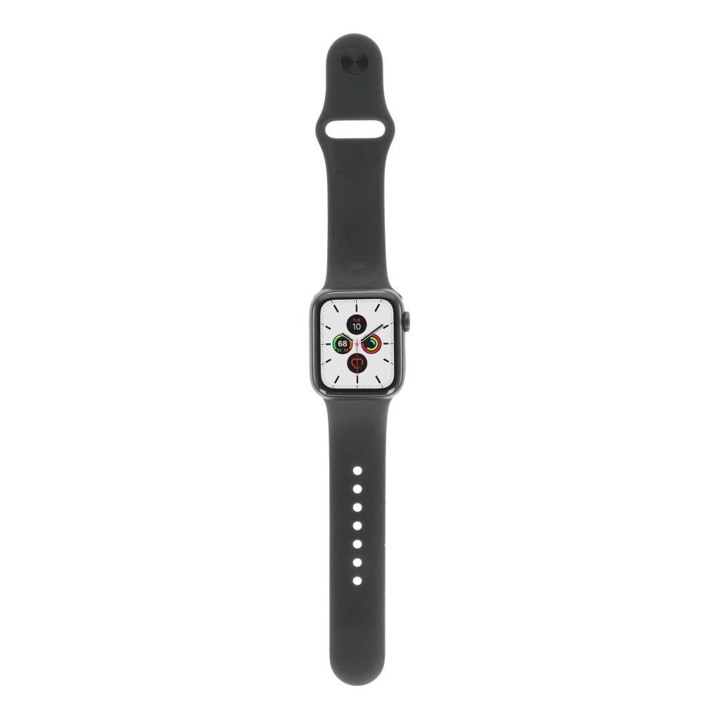 Apple Watch Series 5 Aluminiumgehäuse grau 40mm mit Sportarmband schwarz (GPS) grau neu