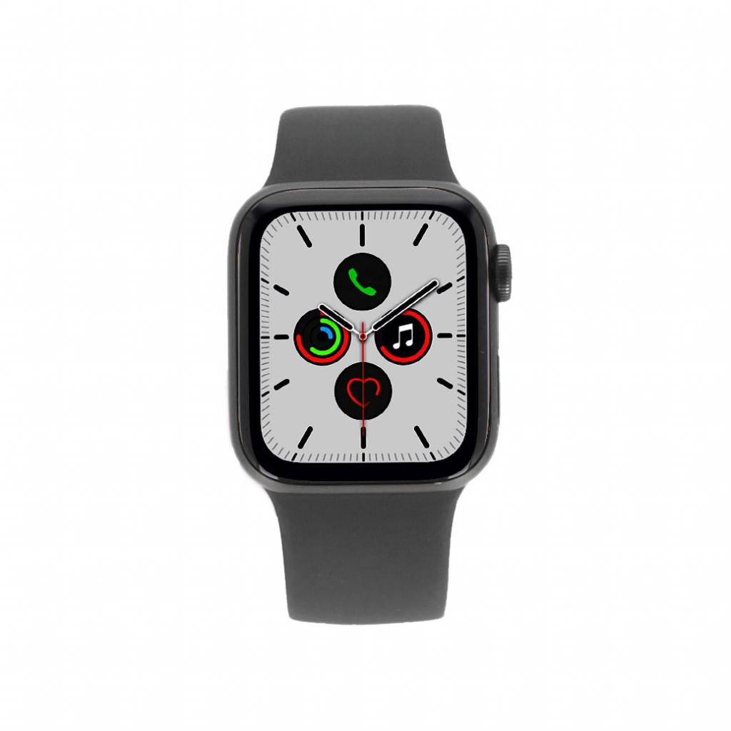 Apple Watch Series 5 Aluminiumgehäuse grau 40mm mit Sportarmband schwarz (GPS+Cellular) gut