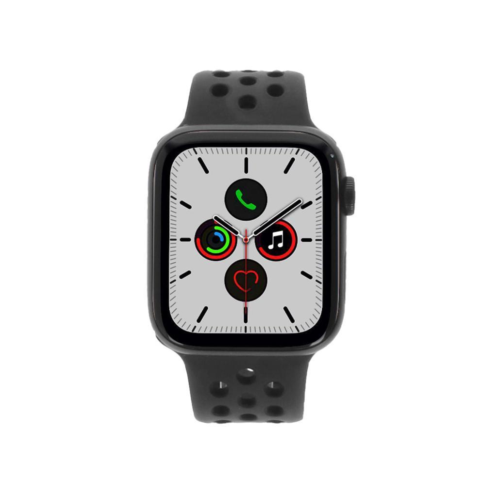 Apple Watch Series 5 Nike+ Aluminiumgehäuse grau 44mm mit Sportarmband schwarz (GPS + Cellular) grau neu