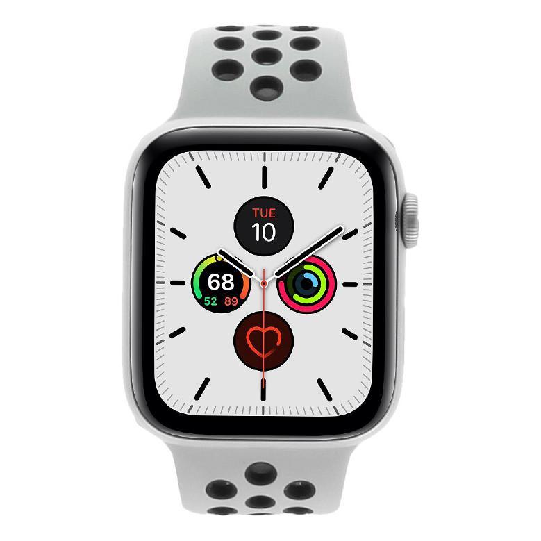 Apple Watch Series 5 Nike+ Aluminiumgehäuse silber 44mm mit Sportarmband platinum/schwarz (GPS + Cellular) silber wie neu