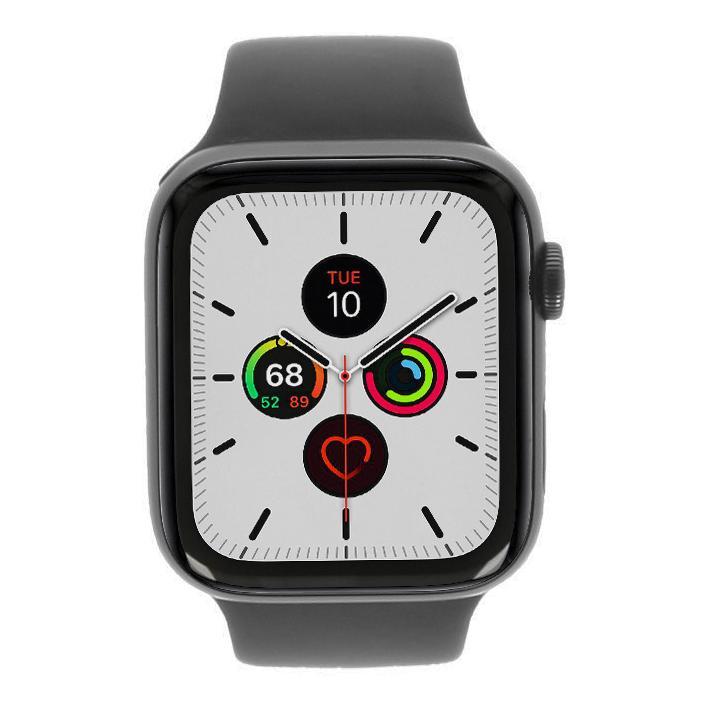 Apple Watch Series 5 Aluminiumgehäuse grau 44mm mit Sportarmband schwarz (GPS) grau sehr gut