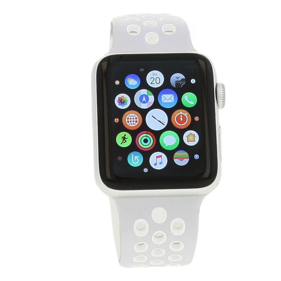 Apple Watch (Series 2) 42mm Aluminiumgehäuse Silber mit Nike+ Sportarmband Silber/Weiss Aluminium Silber