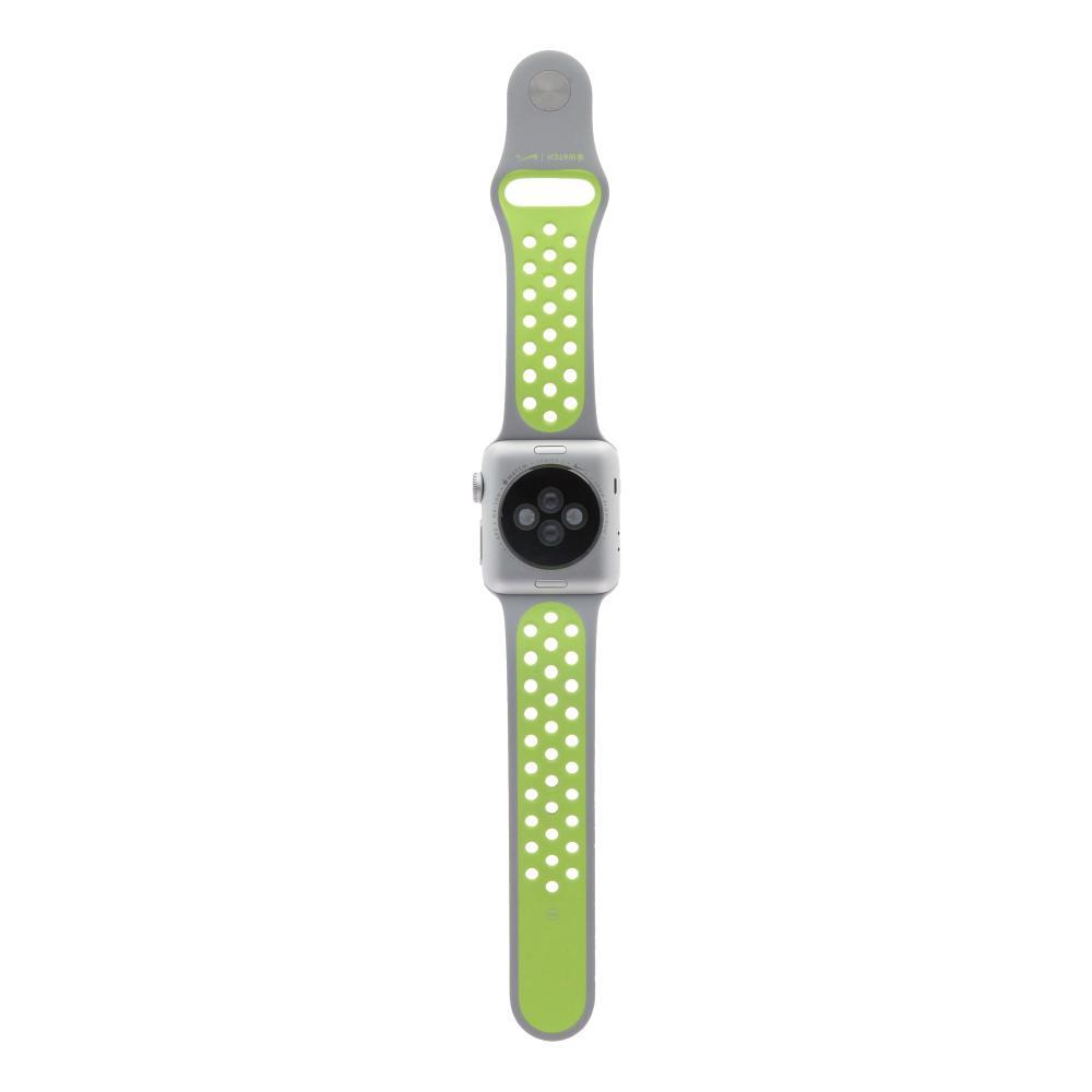 Apple Watch Series 2 Aluminiumgehäuse silber 38mm mit Nike+ Sportarmband silber/volt aluminium silber