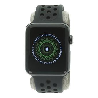 Apple Watch Series 2 Aluminiumgehäuse dunkelgrau 42mm mit Nike+ Sportarmband schwarz aluminium dunkelgrau