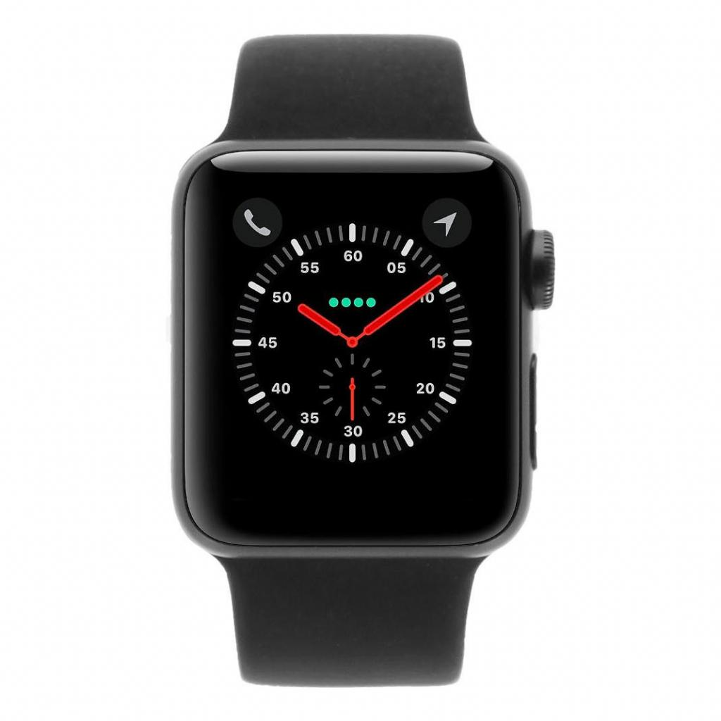 Apple Watch Series 3 Aluminiumgehäuse spacegrau 38mm mit Sportarmband schwarz (GPS) aluminium spacegrau