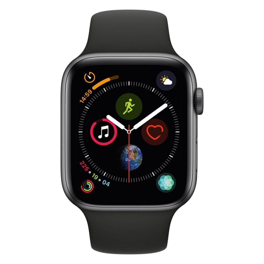 Apple Watch Series 4 Aluminiumgehäuse grau 44mm mit Sportarmband schwarz (GPS) aluminium grau